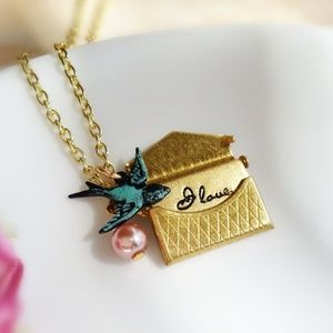 Gold Love Note Locket Patina Sparrow Necklace